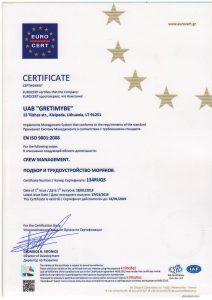 CERTIFICATE EN ISO 9001:2008 / ПОДБОР И ТРУДОУСТРОЙСТВО МОРЯКОВ.