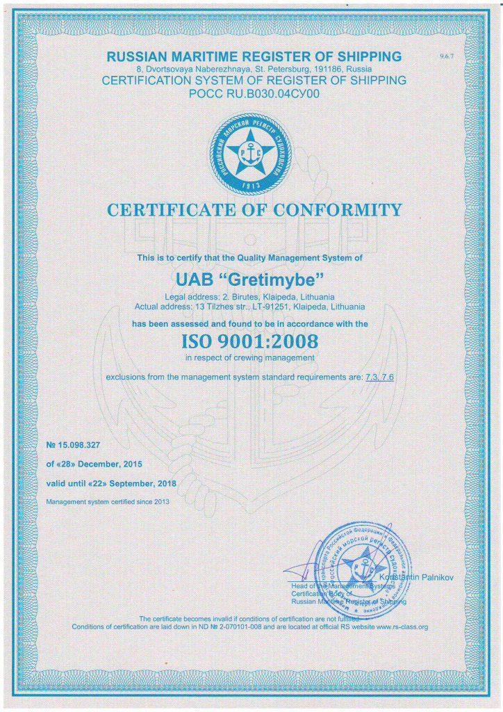 CERTIFICATE OF COMFORMITY ISO 9001:2000 / LST EN ISO 9001:2001